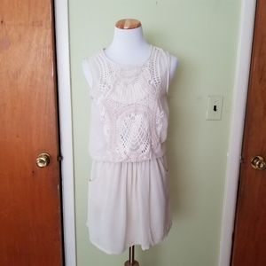 Zara Embroidered Dress Cream Size XS Pre-owned